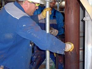 Corroded pipework in refinery
